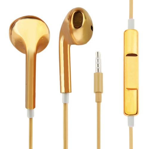Stereo Plating EarPods Earphones with Volume control and Mic, For iPad, iPhone, Galaxy, Huawei, Xiaomi, LG, HTC and Other Smart Phones(Yellow)