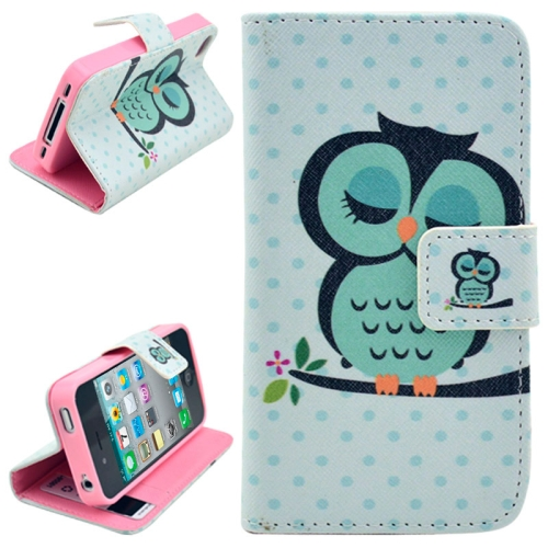 Buy Owl Pattern Leather Case with Credit Card Slots & Holder for iPhone 4 & 4S for $2.46 in SUNSKY store
