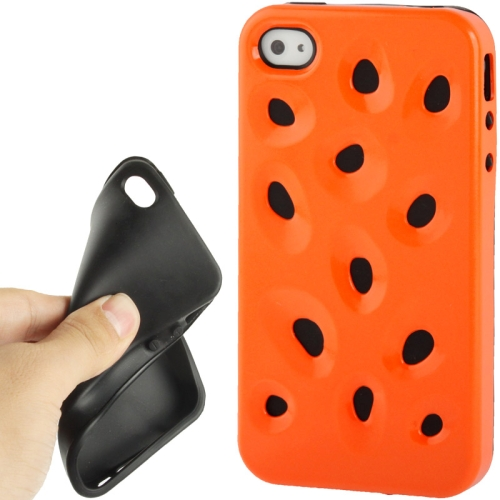 Buy Hollow Watermelon Style Plastic + Black Silicone Combination Case for iPhone 4 & 4S, Orange for $1.17 in SUNSKY store