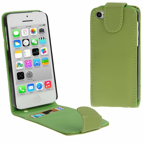 Buy Vertical Flip Leather Case with Credit Card Slot for iPhone 5C, Green for $1.32 in SUNSKY store