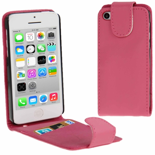 Buy Vertical Flip Leather Case with Credit Card Slot for iPhone 5C, Magenta for $1.32 in SUNSKY store