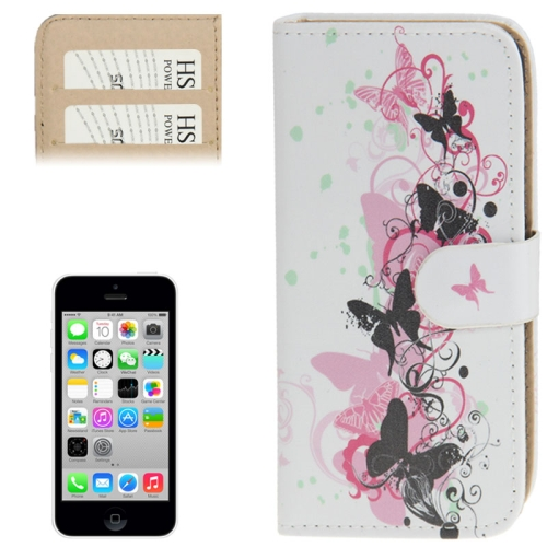 Buy Dancing Butterflies Pattern Leather Case with Credit Card Slots for iPhone 5C for $2.42 in SUNSKY store