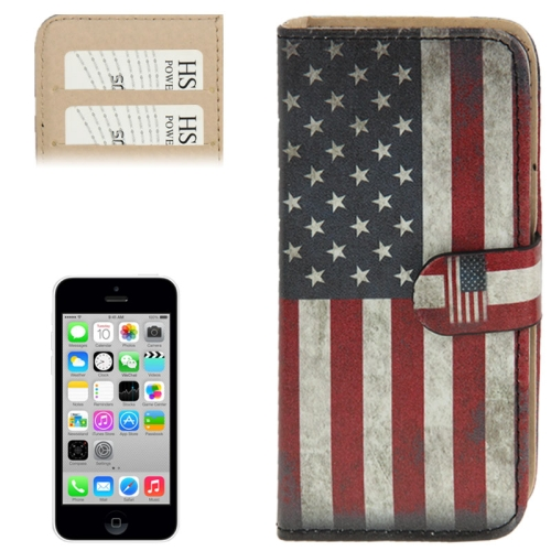 Retro USA Flag Pattern Leather Case with Credit Card Slots for iPhone 5C
