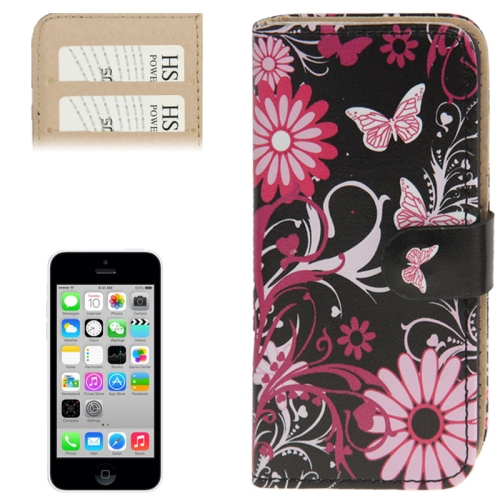 Butterflies over Flowers Pattern Leather Case with Credit Card Slots for iPhone 5C