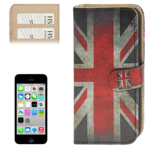 Buy Retro UK Flag Pattern Leather Case with Credit Card Slots for iPhone 5C for $2.56 in SUNSKY store