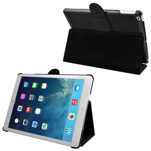 Buy Cloth Texture Leather Case with Holder & Sleep / Wake up Function for iPad Air, Black for $3.24 in SUNSKY store