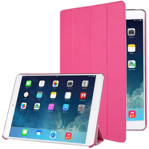 Buy 4-folding Cross Texture Leather Case with Sleep / Wake-up Function & Holder for iPad Air, Magenta for $3.47 in SUNSKY store