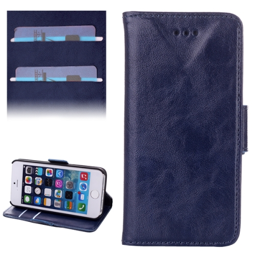 Buy Oil Leather Case with Credit Card Slot & Holder for iPhone 5 & 5s & SE & SE, Blue for $2.98 in SUNSKY store