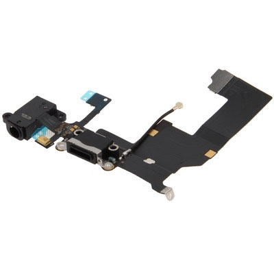 Original Tail Connector Charger Flex Cable + Headphone Audio Jack Ribbon Flex Cable for iPhone 5(Black)