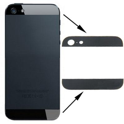OEM Version Back Cover Top & Bottom Glass Lens for iPhone 5(Black)