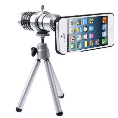 Buy 12X Optical Zoom Mobile Phone Telescope Lens with Tripod + Plastic Case for iPhone 5 for $15.70 in SUNSKY store