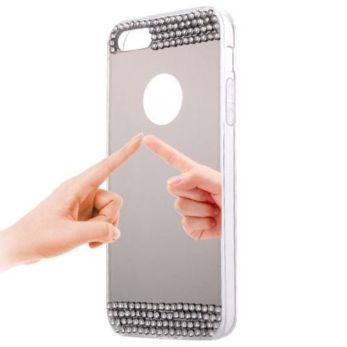 Diamond Encrusted Mirror TPU Protective Case for iPhone 5 & 5s & SE, Grey