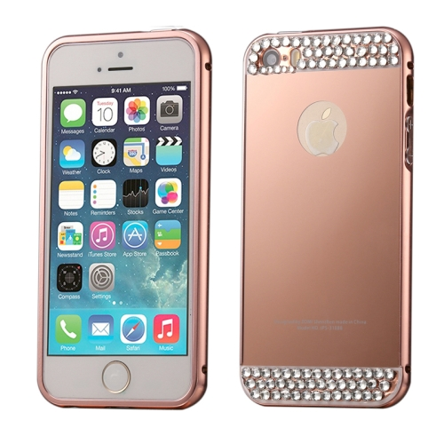 Buy Diamond Encrusted Push-pull Style Metal Plating Bumper Frame + Acrylic Back Cover Combination Case for iPhone 5 & 5s & SE (Rose Gold) for $2.75 in SUNSKY store