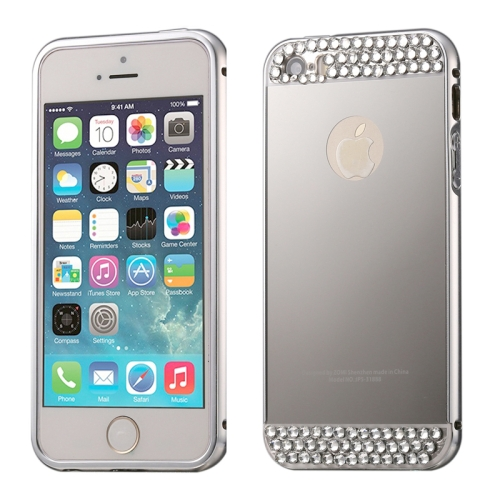 Buy Diamond Encrusted Push-pull Style Metal Plating Bumper Frame + Acrylic Back Cover Combination Case for iPhone 5 & 5s & SE, Silver for $2.76 in SUNSKY store