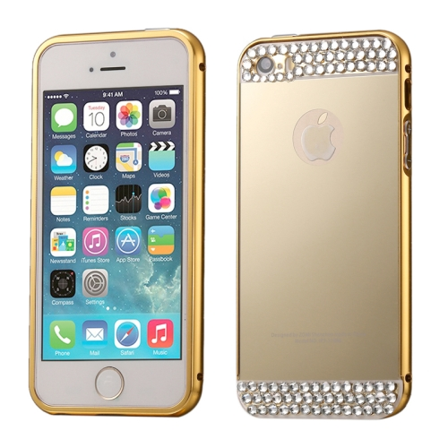 Buy Diamond Encrusted Push-pull Style Metal Plating Bumper Frame + Acrylic Back Cover Combination Case for iPhone 5 & 5s & SE, Gold for $2.76 in SUNSKY store