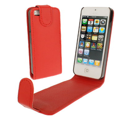 Soft Texture Up and Down Open Leather Case for iPhone 5 & 5s & SE & SE, Red