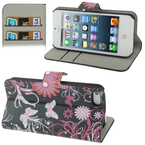 Buy Butterfly Pattern Horizontal Flip Leather Case with Credit Card Slot & Holder for iPhone 5 & 5s & SE & SE for $2.30 in SUNSKY store