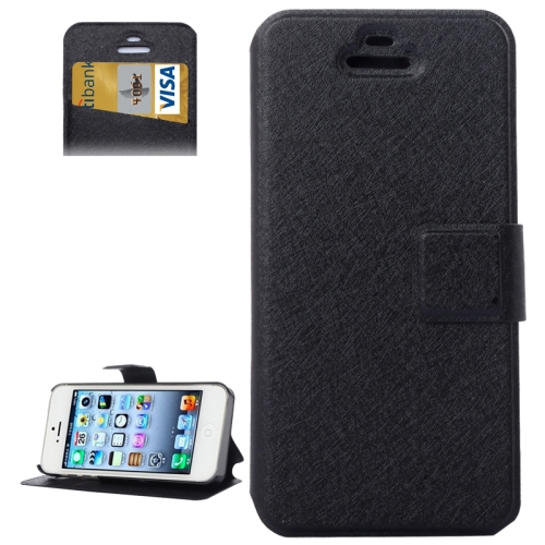 Buy Silk Texture Leather Case with Credit Card Slot & Holder for iPhone 5 & 5S, Black for $1.88 in SUNSKY store