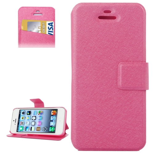 Buy Silk Texture Leather Case with Credit Card Slot & Holder for iPhone 5 & 5s & SE & SE, Magenta for $1.89 in SUNSKY store