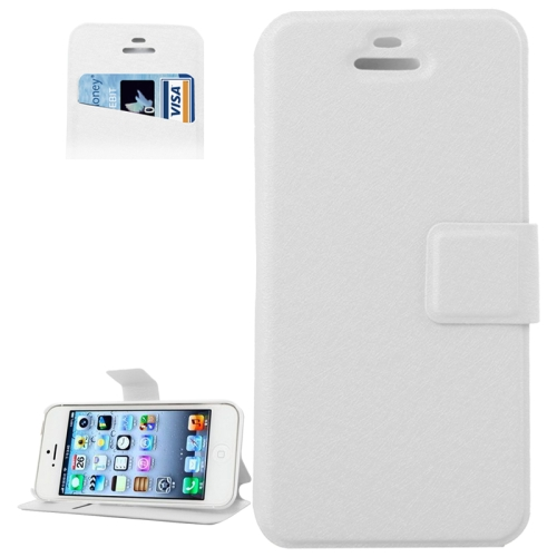 Buy Silk Texture Leather Case with Credit Card Slot & Holder for iPhone 5 & 5S, White for $1.89 in SUNSKY store