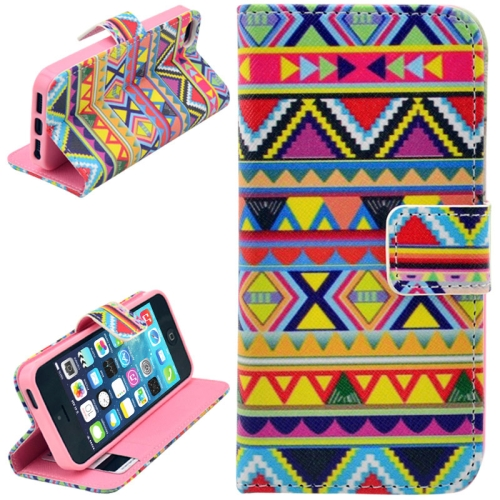 Buy Aztec Tribal Tribe Pattern Retro Vintage Leather Case with Credit Card Slots & Holder for iPhone 5 & 5S for $2.46 in SUNSKY store