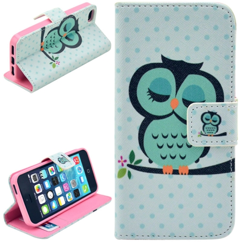 Buy Owl Pattern Leather Case with Credit Card Slots & Holder for iPhone 5 & 5S for $2.47 in SUNSKY store