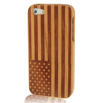 Buy Woodcarving USA Flag Pattern Detachable Cherry Wood Material Case for iPhone 5 for $7.81 in SUNSKY store
