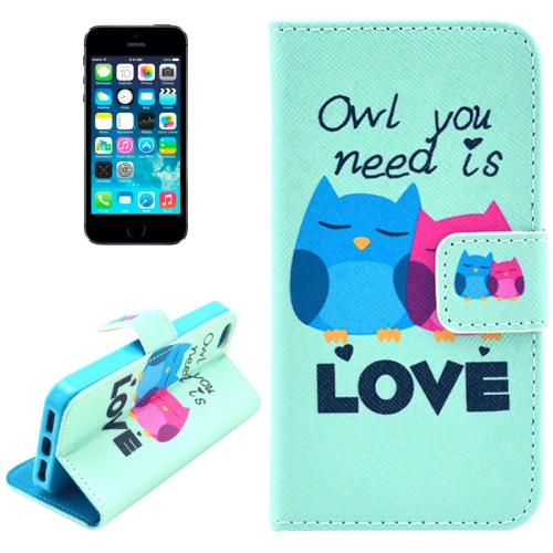 Buy Owl Pattern Leather Case with Credit Card Slots & Holder for iPhone 5 & 5s & SE & SE for $2.46 in SUNSKY store