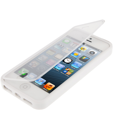 22ae6f7ef0e SUNSKY - Funda TPU con tapa transparente para iPhone 5 y 5S (negro) (Blanco)