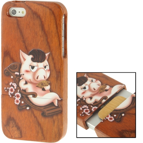 Buy Coloured Drawing Pig Pattern Detachable Redwood Material Case for iPhone 5 & 5s & SE for $8.05 in SUNSKY store