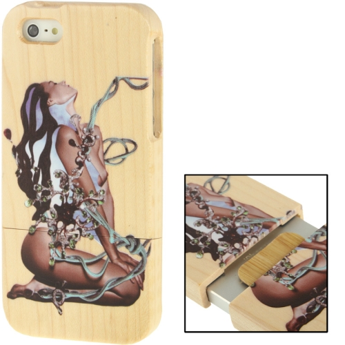 Buy Coloured Drawing Sexy Goddess Pattern Detachable Pinevood Material Case for iPhone 5 & 5s & SE for $8.05 in SUNSKY store