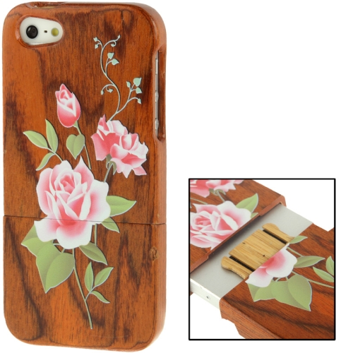 Buy Coloured Drawing Rose Pattern Detachable Redwood Material Case for iPhone 5 for $8.02 in SUNSKY store