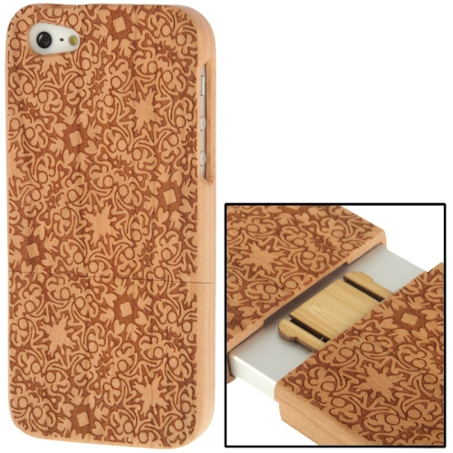 Buy Woodcarving Palace Decorative Pattern Detachable Cherry Wood Material Case for iPhone 5 for $8.05 in SUNSKY store
