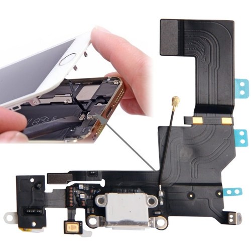Original Version Tail Connector Charger Flex Cable + Headphone Audio Jack Ribbon Flex Cable for iPhone 5S(White)