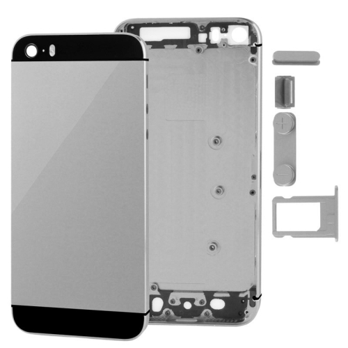 Full Housing Alloy Replacement Back Cover with Mute Button + Power Button + Volume Button + Nano SIM Card Tray for iPhone 5S(Grey)