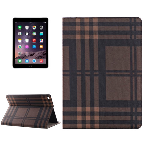 Buy Plaid Texture Leather Case with Holder & Card Slots & Money Pocket for iPad Air 2, Coffee for $5.96 in SUNSKY store