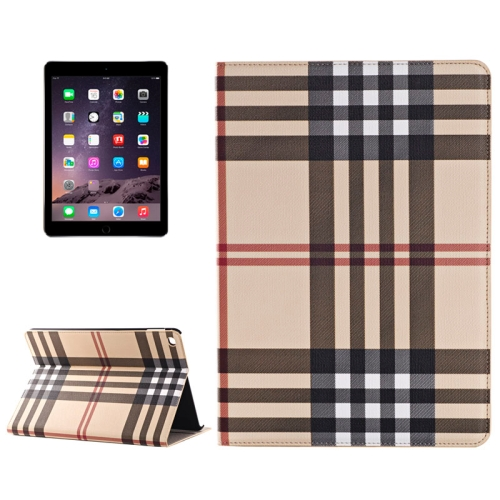Buy Plaid Texture Leather Case with Holder & Card Slots & Money Pocket for iPad Air 2, Yellow for $5.96 in SUNSKY store