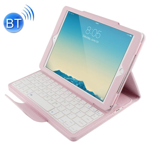Buy For iPad Air 2 Bluetooth Keyboard Litchi Texture Smart Cover Leather Case with Holder and Sleep Function, Pink for $13.13 in SUNSKY store