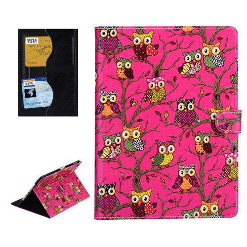 Buy Owls Pattern Cross Texture Smart Cover Leather Case with Card Slots & Holder & Sleep / Wake-up Function for iPad Air 2 / iPad 6, Magenta for $5.01 in SUNSKY store