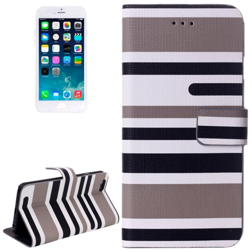 Variegated Stripe Texture Horizontal Flip Leather Case with Holder for iPhone 6 & 6S, Grey