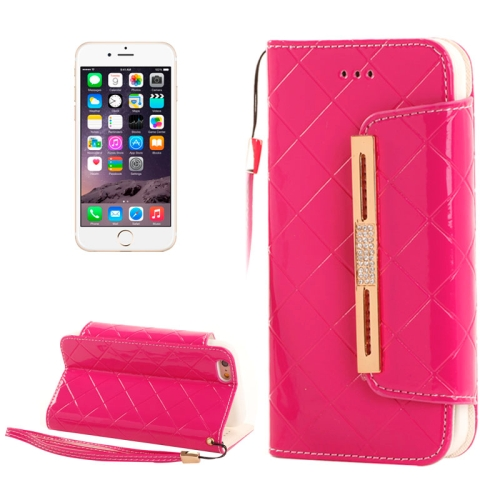Buy Wallet Style Diamond Encrusted Leather Case with Lanyard & Card Slots & Money Pocket for iPhone 6, Magenta for $5.16 in SUNSKY store