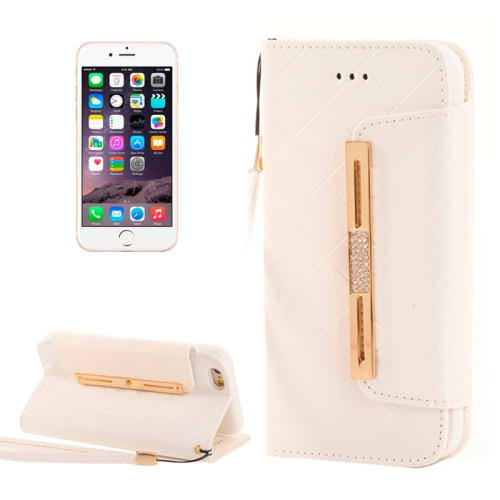 Buy Wallet Style Diamond Encrusted Leather Case with Lanyard & Card Slots & Money Pocket for iPhone 6, White for $5.16 in SUNSKY store