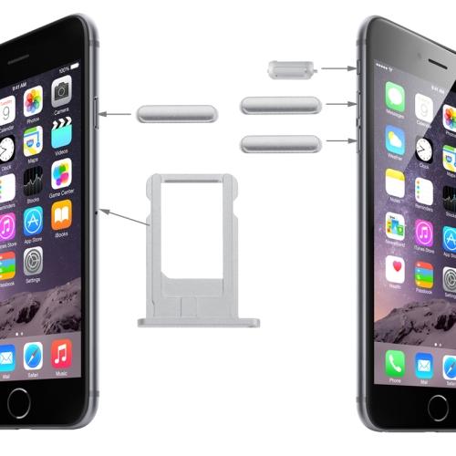 Original Card Tray & Volume Control Key & Screen Lock Key & Mute Switch Vibrator Key Kit for iPhone 6(Silver)