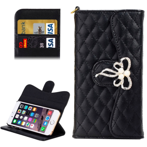 Buy Plaid Texture Sheepskin Diamond-encrusted Bowknot Button Flip Leather Case with Card Slots & Wallet & Holder & Lanyards for iPhone 6 & 6S, Black for $3.55 in SUNSKY store