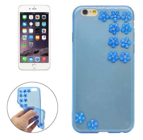 Buy Flower Pattern Diamond Encrusted Ultrathin TPU Protective Case for iPhone 6, Blue for $1.07 in SUNSKY store