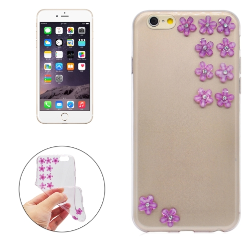Buy Flower Pattern Diamond Encrusted Ultrathin TPU Protective Case for iPhone 6, Purple for $1.07 in SUNSKY store