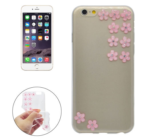 Buy Flower Pattern Diamond Encrusted Ultrathin TPU Protective Case for iPhone 6, Transparent for $1.07 in SUNSKY store