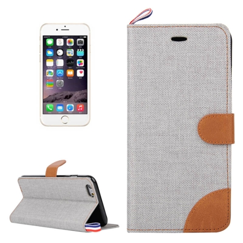 Buy Denim Texture Horizontal Flip Leather Case with Card Slots & Holder & Lanyard for iPhone 6 & 6S, Grey for $2.48 in SUNSKY store