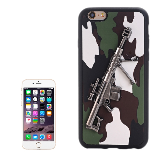Buy 3D Gun Pattern PU Paste Skin TPU Protective Case for iPhone 6 & 6s, White for $1.47 in SUNSKY store