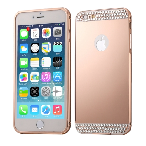 Buy Diamond Encrusted Push-pull Style Metal Plating Bumper Frame + Acrylic Back Cover Combination Case for iPhone 6 & 6s (Rose Gold) for $2.76 in SUNSKY store
